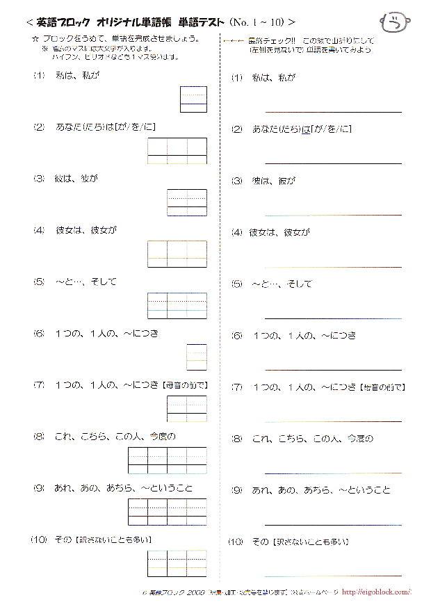 英語ブロック オリジナル英単語帳 No.1~100 英単語テスト
